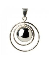 Mexický prívesok BOLA pre tehotné ženy - double ring silver