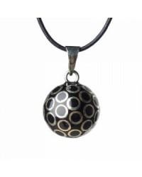 Mexický prívesok BOLA pre tehotné ženy - black silver small circles