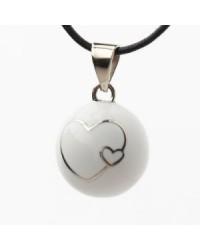 Mexický prívesok BOLA pre tehotné ženy - white 2 hearts