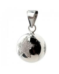 Mexický prívesok BOLA pre tehotné ženy - silver with glitter star & flower & heart
