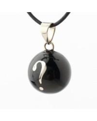 Mexický prívesok BOLA pre tehotné ženy - black silver question mark