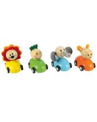 Farebné autíčko so zvieratkom Bigjigs