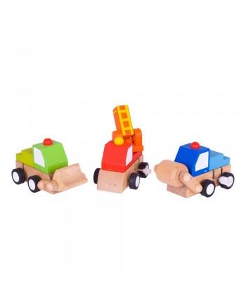 Farebné drevené autíčka na naťahovanie Bigjigs