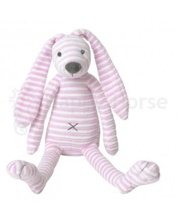 Plyšová hračka HAPPY HORSE Ružový pruhovaný zajačik REECE No.1