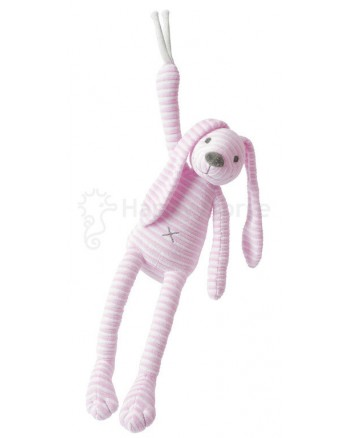 Hračka s melódiou HAPPY HORSE Ružový pruhovaný zajačik REECE