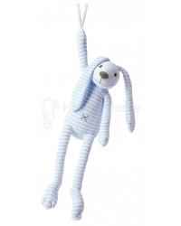 Hračka s melódiou HAPPY HORSE Modrý pruhovaný zajačik REECE