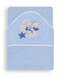 Froté osuška Interbaby Macko s mesiacom - modrá