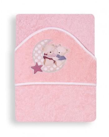 Froté osuška Interbaby Macko s mesiacom - ružová
