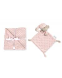 Interbaby Mäkká deka s guličkami a maznáčikom - Ružová