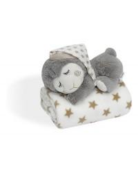 INTERBABY Flísová deka s hračkou - krémová