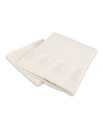Interbaby Pletená deka s lemom - krémová