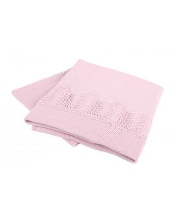 Interbaby Pletená deka s lemom - ružová