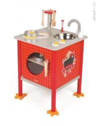 Janod Drevená magnetická kuchynka Kohútik s doplnkami