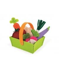 Janod Textilná zelenina v košíku 8ks