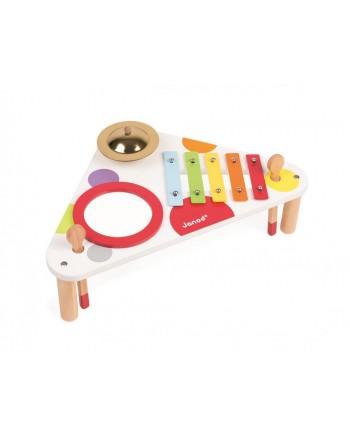 Janod Drevený hudobný stolík Confetti xylofón-bubon-činely