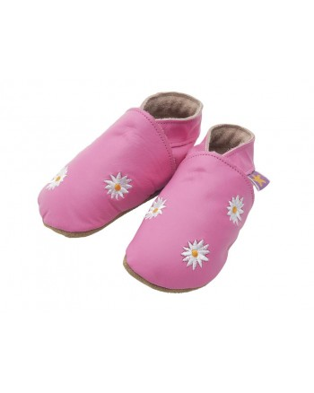 Kožené topánočky STARCHILD - Daisy flowers pink