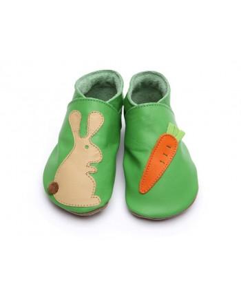 Kožené topánočky STARCHILD - Rabbit carrot on green