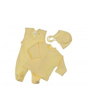 Trojdiela súprava Antony (jednofarebná) - žltá