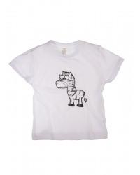 Tričko krátky rukáv - Zebra - biele