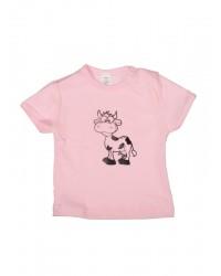 Tričko krátky rukáv - Kravička - ružové