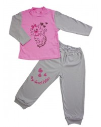 Pyžamo Antony - mačička - šedo-ružové