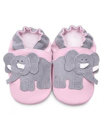 Kožené capačky Shooshoos - Pink / Grey Ellie 6-12m