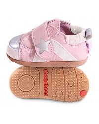 Kožené topánočky Shooshoos - Pink / White / Silver / Star - 24