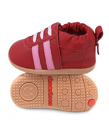 Kožené topánočky Shooshoos - Red Sport / Pink Stripes - 24