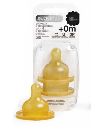 Cumlík na fľašu Suavinex 3-pozičný 0m+ Kaučuk