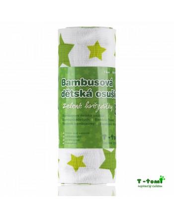 Bambusová osuška T-tomi - Zelené hviezdičky