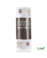 Bambusová osuška T-tomi - Béžové hviezdičky