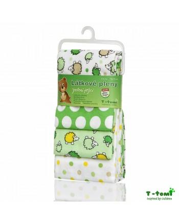Flanelové plienky T-tomi - Zelení ježkovia