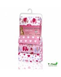 Flanelové plienky T-tomi - Ružoví sloni