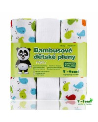 Bambusové plienky T-tomi 3ks - Vtáčiky