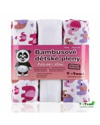 Bambusové plienky T-tomi 3ks - Ružoví sloni