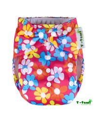 Plienkové nohavičky T-tomi All in One + 2 bambusové vkladacie plienky - Ružová kvetinka
