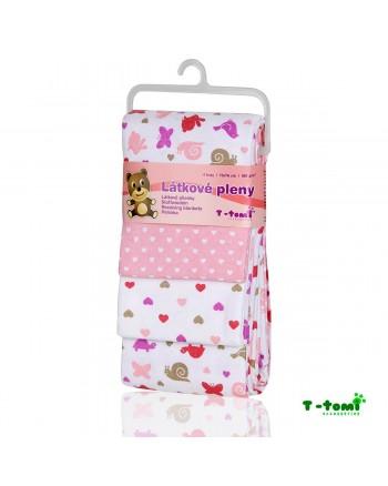 Flanelové plienky T-tomi - Ružoví slimáci
