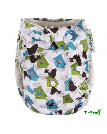Bambusové plienkové nohavičky T-tomi All in One + 2 bambusové vkladacie plienky - Vtáčia búdka biela