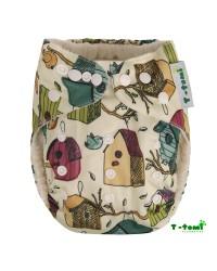Bambusové plienkové nohavičky T-tomi All in One + 2 bambusové vkladacie plienky - Vtáčia búdka