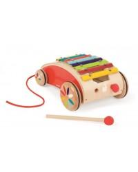 Janod Detský drevený vozík s xylofónom Red Tatoo
