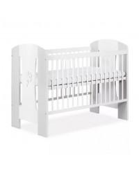 Detská postieľka Klups NATI - Štvorlístok 120x60cm bielo-šedá