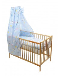 Štvordielna suprava - obliečky + mantinel + baldachýn (modro-biela) - Mačička