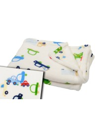 Plyšová deka Antony - autíčka - biela