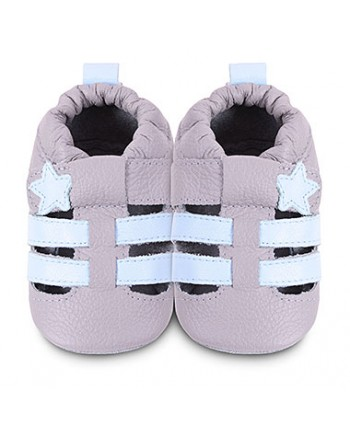 Kožené capačky Shooshoos - Grey / Sky sandal 6-12m