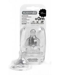Cumlík na fľašu Suavinex 3-pozičný 0m+ Silikón