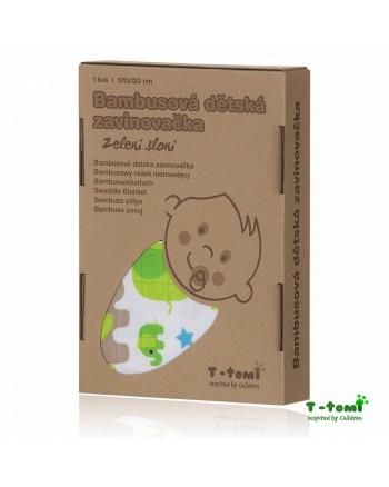 Bambusová zavinovačka T-tomi - Zelení sloni