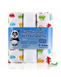 Bambusové plienky T-tomi 3ks - Autá