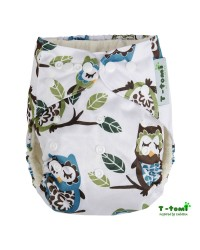 Bambusové plienkové nohavičky T-tomi All in One + 2 bambusové vkladacie plienky - Biela sova