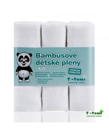 Bambusové plienky T-tomi 3ks - biele