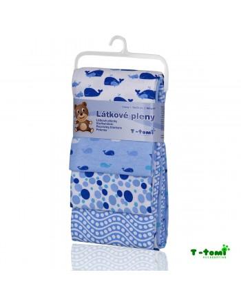 Flanelové plienky T-tomi - Modré veľryby